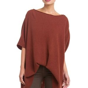 Vince Brown Zip Poncho Ribbed Sweater